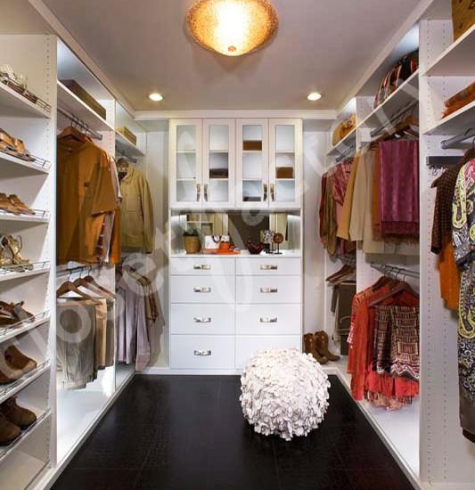 Modern White Walk In Closet