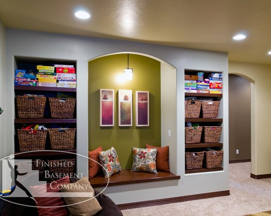 Basement Shelves And Bench Seat